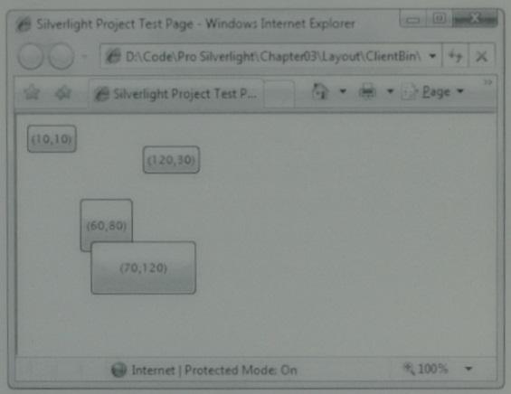 Obrázek (IE se Silverlight aplikací s tlačítky)